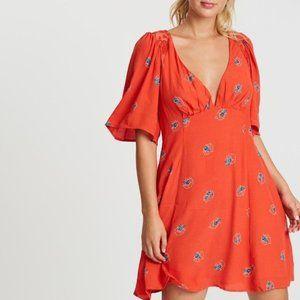 Free People Mockingbird Mini Dress in Red Combo